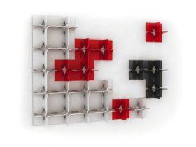 magis-tide-bookcase-it Libreria componibile, Magis, TIDE, Zaha Hadid, 2011 Libreria componibile a parete realizzata in ABS lucido nei colori rosso, bianco e nero.. Magis
