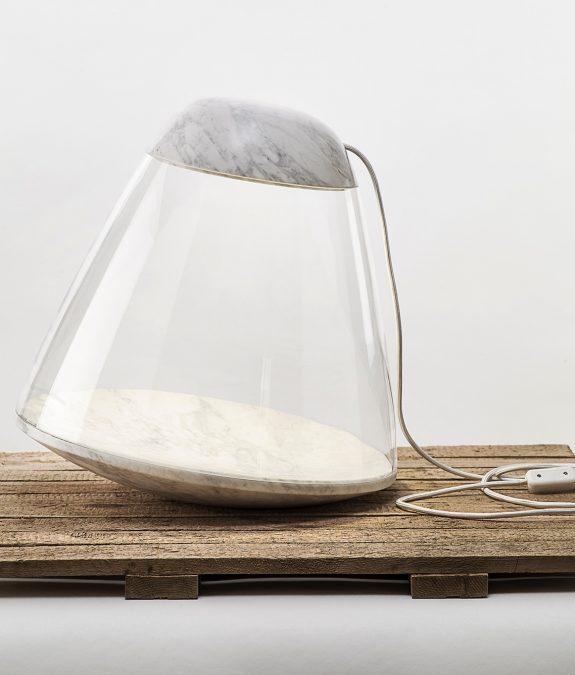 la chance apollo lamp white marble