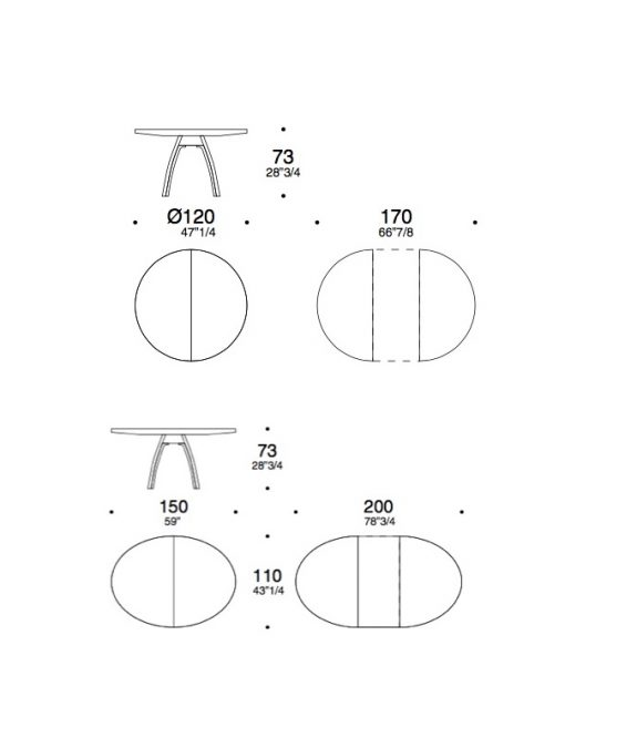 traingolo triangolo table dimension